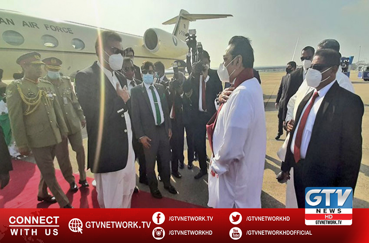 Sri Lankan PM receives Prime Minister Imran Khan on arrival in Colombo