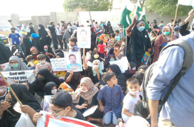 Children of Shia Missing Persons holds sit in protest outside Governor House