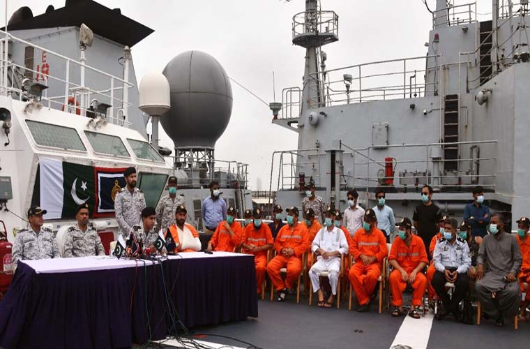 Pakistan Navy and Maritime Security Agency rescue crew