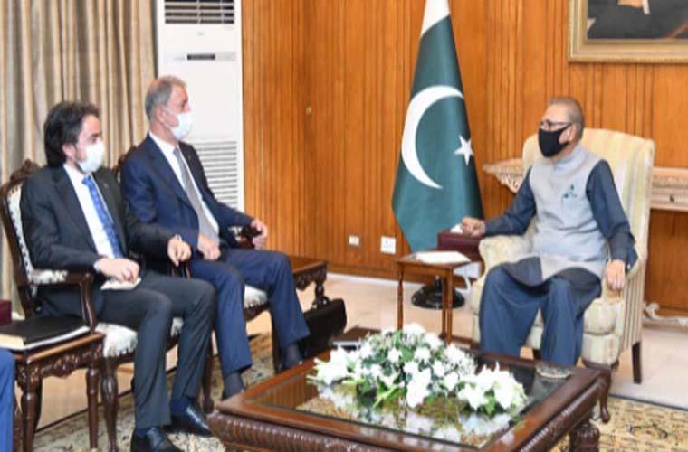 Turkish Defence Minister calls on President Dr Arif Alvi in Islamabad